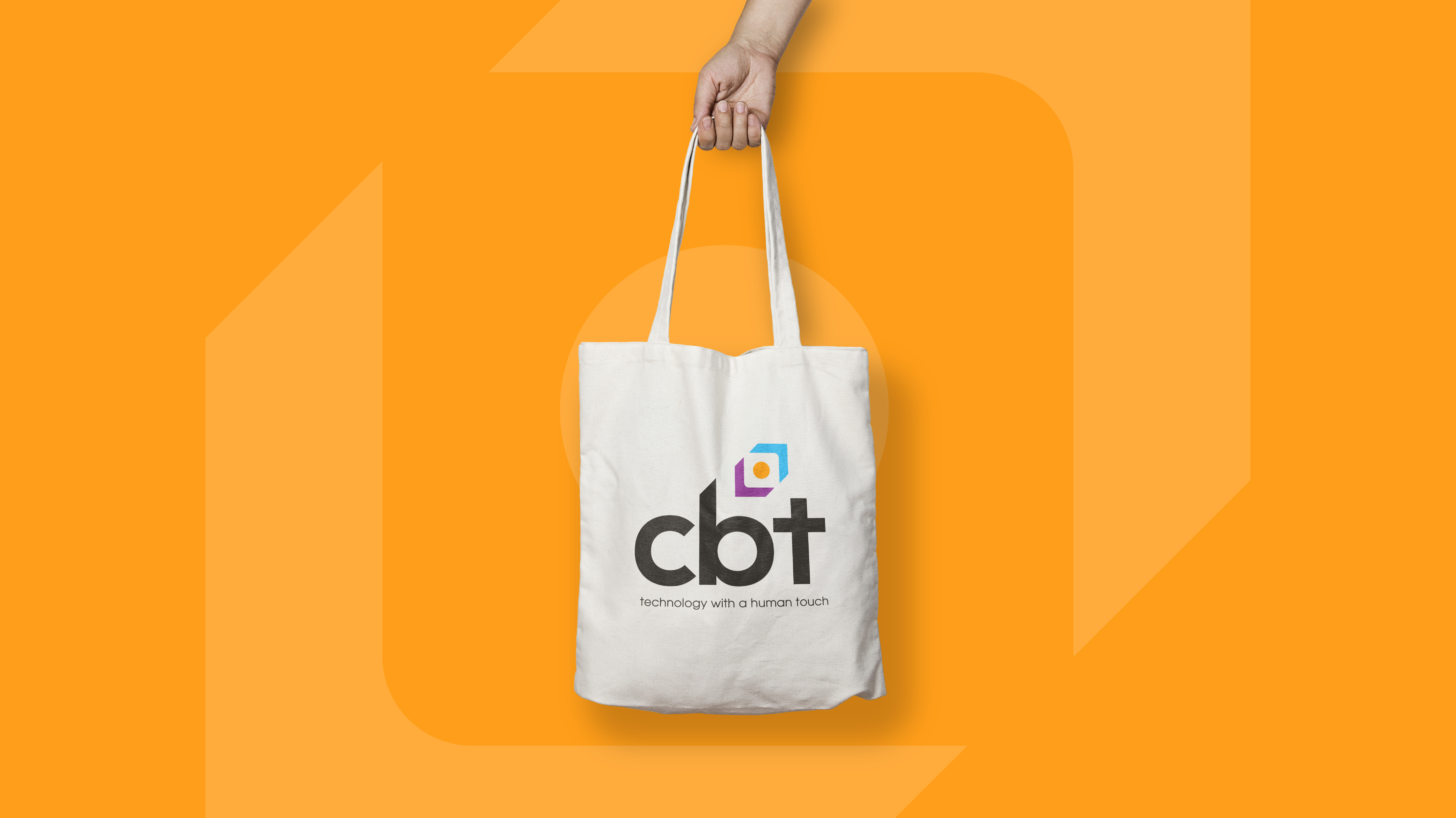 cbt logo design on canvas bag