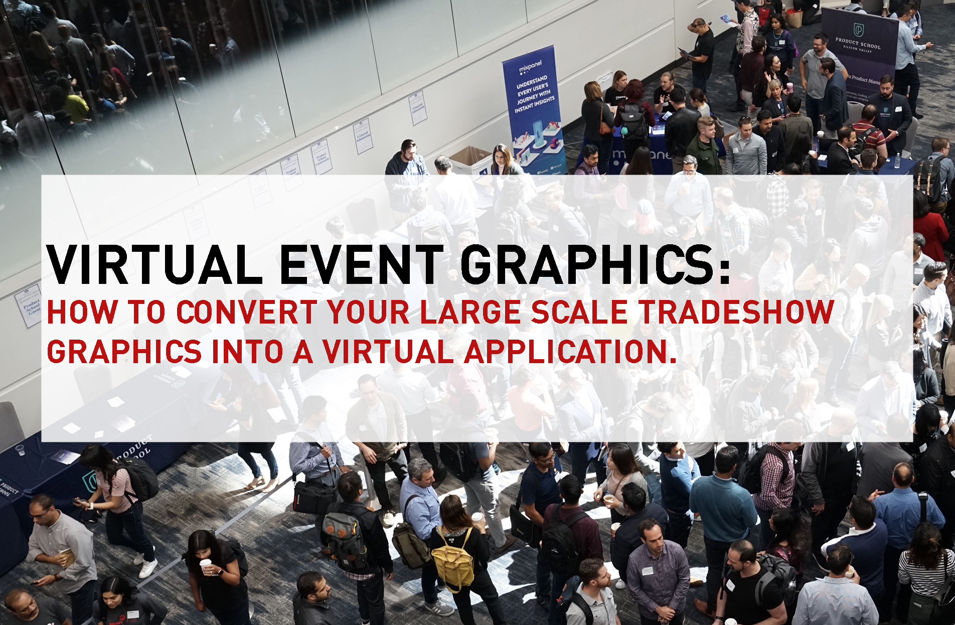 virtual event graphics text over crowd