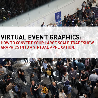 virtual event graphics text over logo